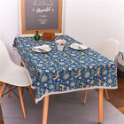 Christmas Holiday Party Cartoon Deer Cotton Linen Purple Blue Table Cloth Cover