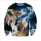 New Mens/Women's Wolf Animal Funny 3D Print Sweatshirt hoodies pullover