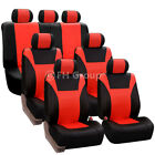 Racing PU Leather 3 Row Seat Covers For VAN Airbag & Split Bench Compatible