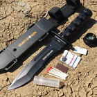 """HUNT-DOWN 12"""" Crafted Steel Modified TANTO Survival Knife KIT w/ Compass - NEW"""