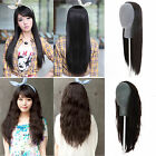 Womens Lady 3/4 Wig Long Straight Body Wavy Curly Black Brown Daily Costume Hair
