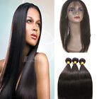 4 Bundles Brazilian Straight Human Hair Extensions With 360 Frontal Closure 8A