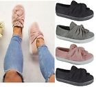 Kyпить NEW LADIES WOMENS FLAT FAUX SUEDE TRAINERS SNEAKERS BOW PUMPS SHOES UK SIZE 3-8 на еВаy.соm