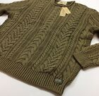 Denim & Supply Ralph Lauren Men Military Army Vintage Washed Cable Knit Sweater