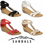 WOMEN LADIES WEDGE SANDALS STRAPY HEELS SUMMER EVENING PARTY CASUAL BEACH SHOES