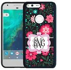 MONOGRAMMED RUBBER CASE FOR GOOGLE PIXEL & PIXEL XL HOT PINK FLOWERS