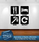 EAT SLEEP MINE REPEAT SQUARES MINECRAFT STYLE GRAPHIC STICKER WALL ART COLOURS