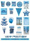 Happy Birthday Blue Glitz Party Range - Party/Plates/Napkins/Banners/Cups