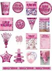 90 / 90th Birthday Pink Glitz Party Range - Party/Plates/Napkins/Banners/Cups