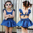 Baby Girls Kid Toddler Summer Ruffle Sleeve Denim Jeans Tutu Outfit Short Dress