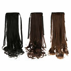 """Women Clip In Ribbon Ponytail Wavy Style Hair Wrap On Piece Wig 18"""""""