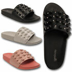 Ladies Womens Wedge Diamante Stud Summer Beach Slip On Flip Flops Sandals Thong