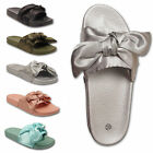 Womens Ladies Slip On Sliders Satin Bow Knot Summer Slippers Flip Flops Sandals