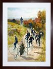 TRAVEL PENNY FARTHING BICYCLE TRICYCLE AD FRAMED ART PRINT PICTURE F12X1225