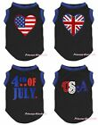 4th July Blue Black Top T-Shirt USA UK Flag Pet Cat Dog Puppy One Piece Clothes