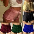 Women Ladies Elastic Crushed Velvet Casual Shorts High Waist Hot Pants Bottoms
