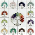 Natural Amethyst Rhodochrosite Peridot Chip Beads Tree Of Life Silver Pendant