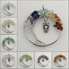 Natural Amethyst Peridot Citrine Gems Chip Beads Tree of Life Silver Owl Pendant