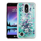 LG Stylo 3 / Plus Bling Hybrid Liquid Glitter Quicksand Rubber Hard Case Cover
