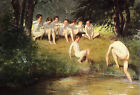 Classic German art print - At the Swimming Hole by Sauer