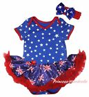 Plain Queen Day Star Bodysuit Blue Union Jack UK Flag Girl Baby Dress Set NB-18M