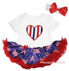 Queen Day RWB Heart White Bodysuit Blue Union Jack UK Flag Baby Dress Set NB-18M