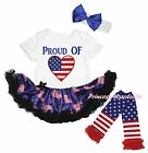 Proud of US Heart 4th July White Bodysuit USA Flag Baby Dress Leg Warmer NB-18M