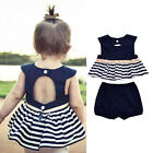 2pcs Newborn  Kids Baby Girls Summer Outfit Navy Blue Dress Top+Pants Clothes