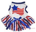 Star US USA Flag 4th July White Top RWB Striped Skirt Pet Dog Puppy Cat Dress