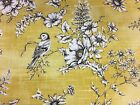 Floral Bird Toile Yellow/Grey  Curtain/Craft Fabric