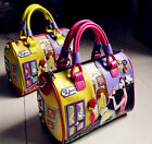 Women Fashion Leather 3D & Solids Tote Embroidery Graffiti Shoulder Bag Handbag
