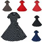 50s 60s Women Housewife Vintage Retro Swing Dress Rockabilly Pinup Dot Costume