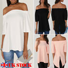 ISASSY Women's Off The Shoulder Casual Loose Short Sleeve Blouse T Shirt Tops
