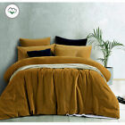 Gold Harmony Cotton Velvet Quilt Cover Set OR Eurocases - QUEEN KING Super King