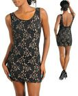 Brand New Black And Brown Lace Over Satin Sleeveless Clubwear Party Dress