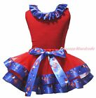 Plain 4th July Red Top USA Hat Balloon Mustache Satin Trim Skirt Girl Set NB-8Y
