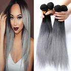 Silk Straight Black To grey Two Tone Ombre Brazilian Human Remy Virgin Hair Weft