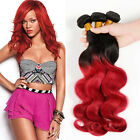 Body Wave 1B/Red Two Tones Virgin Ombre Brazilian Human Hair Weft Hair Extension