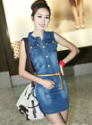 Fashion leasure women Jean skirt Denim sleeveless slim short dress