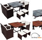 RATTAN CUBE SET 8 SEATER GARDEN PATIO DINING FURNITURE OUTDOOR TABLE WOOD GLASS