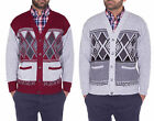 Mens Classic Long Sleeve Button Up Cardigan Argyle Diamond Aztec Print Sweater P