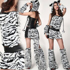 7PC Set Women's Deluxe White/Black Tiger Costume Striped Mini Skirt Warmers OS