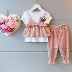 2pcs Kids Baby Girls Summer Short Sleeve White T-shirt+Bloomers Fashion Clothes