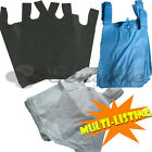 PLASTIC VEST SHOPPING GROCERY CARRIER BAGS BLUE WHITE & BLACK 11