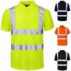 New Mens Hi Vis High Visibility Short Sleeve Button Up Polo Work Shirt