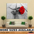 A Wall Art Canvas Picture Print - Red Rose Wood Floow Black White 4.3