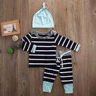 Newborn Baby Boys Girls Clothes Striped Tops T shirt Pants Leggings Outfit Set