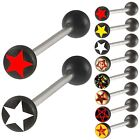 2P Logos acrylic tongue barbell rings bars tounge jewelry 9ECA-SELECT COLOR&SIZE