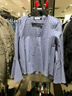Spain Women's V-Neck Belled Sleeves Gingham Top Blue Check Loose Blouse XS-L