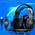 New Vibration USB Surround Stereo Gaming Headset Headband Headphone with Mic LED